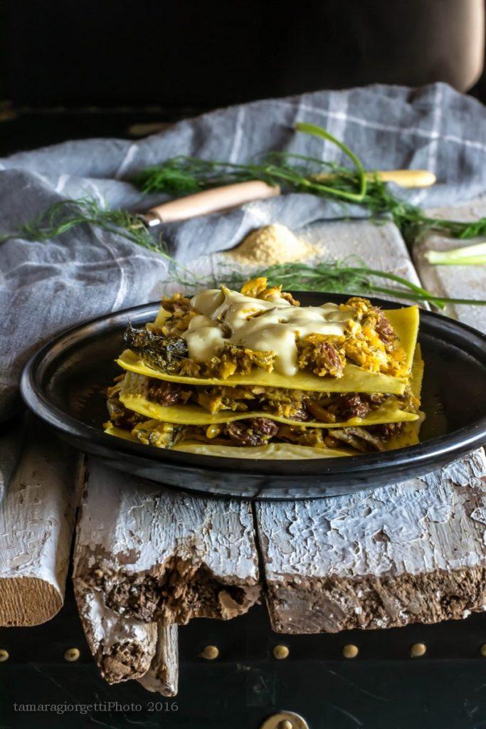 lasagnetta di mais con sarde di lago e finocchietto selvatico