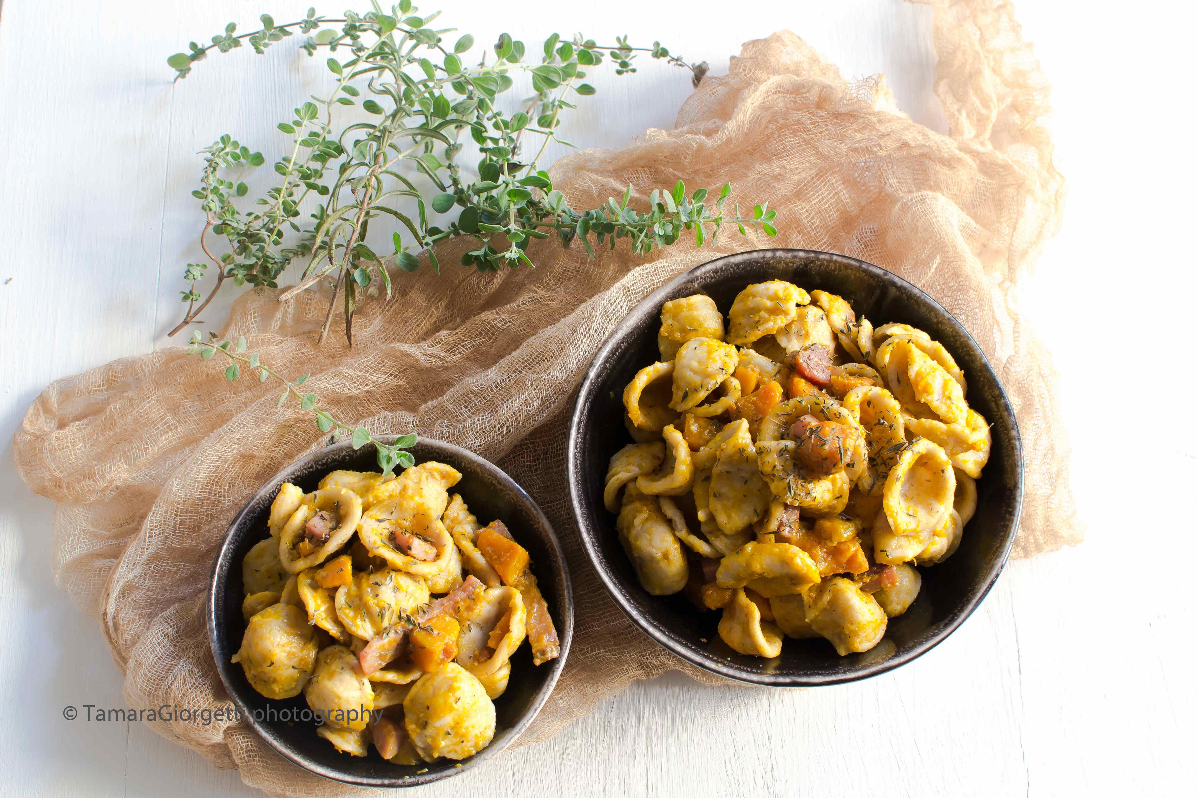 Orecchiette Con Farina Perciasacchi, Zucca E Speck