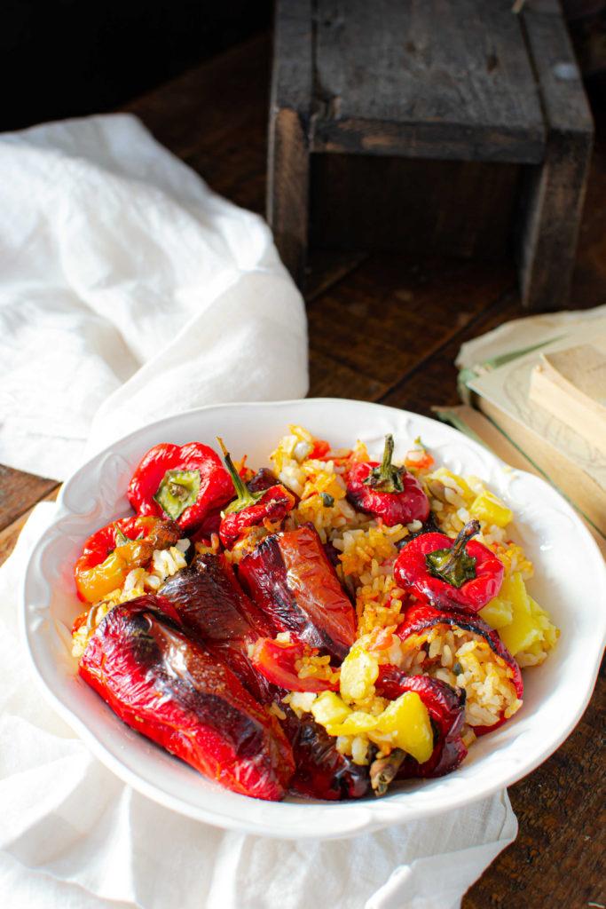 peperoni corno ripieni di riso