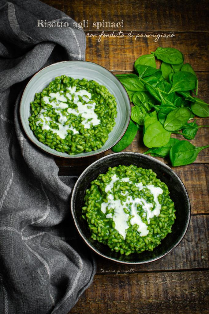 risotto agli spinaci con fonduta di parmigiano
