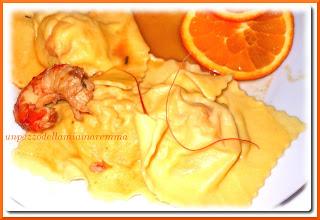 Tortelloni Di Patate E Gamberoni In Guazzetto D'arancia